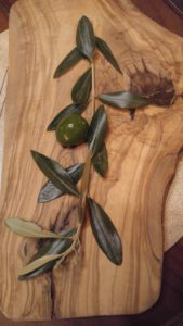 Olive Branch on Olive Wood Cutting Board